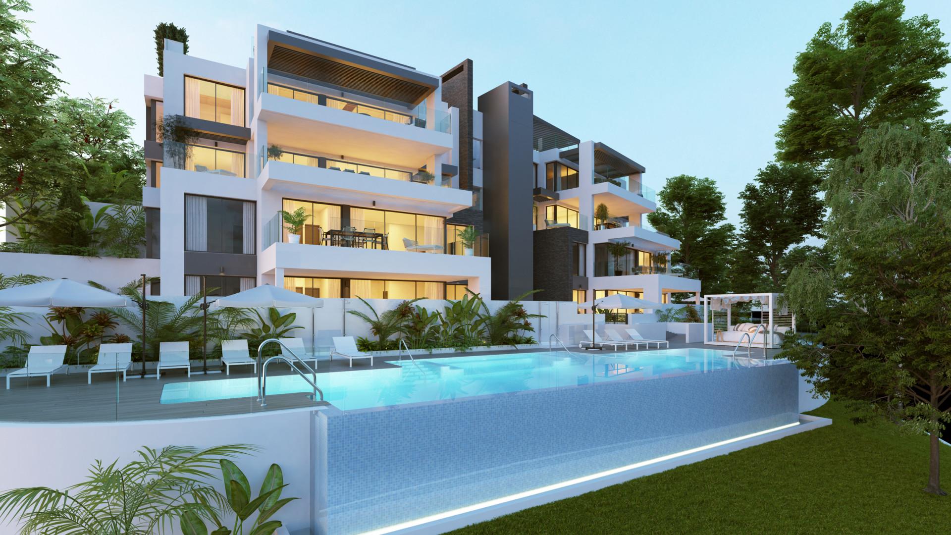 Nieuw zeer exclusief complex met prachtig uitzicht naar zee in Benahavis.PL107