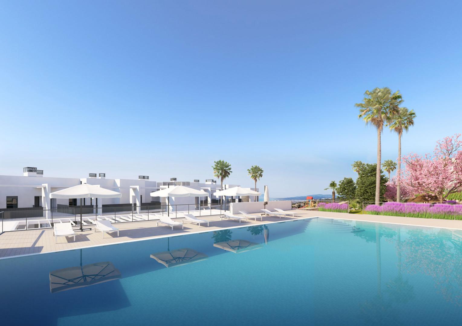 Een nieuw en chique complex met weergaloos uitzicht op zee in Manilva.PL108