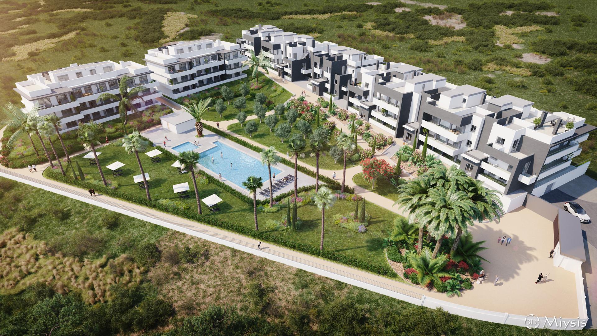 Laagbouw nieuwe appartementen dichtbij de kust tussen Estepona en Casares.PL125