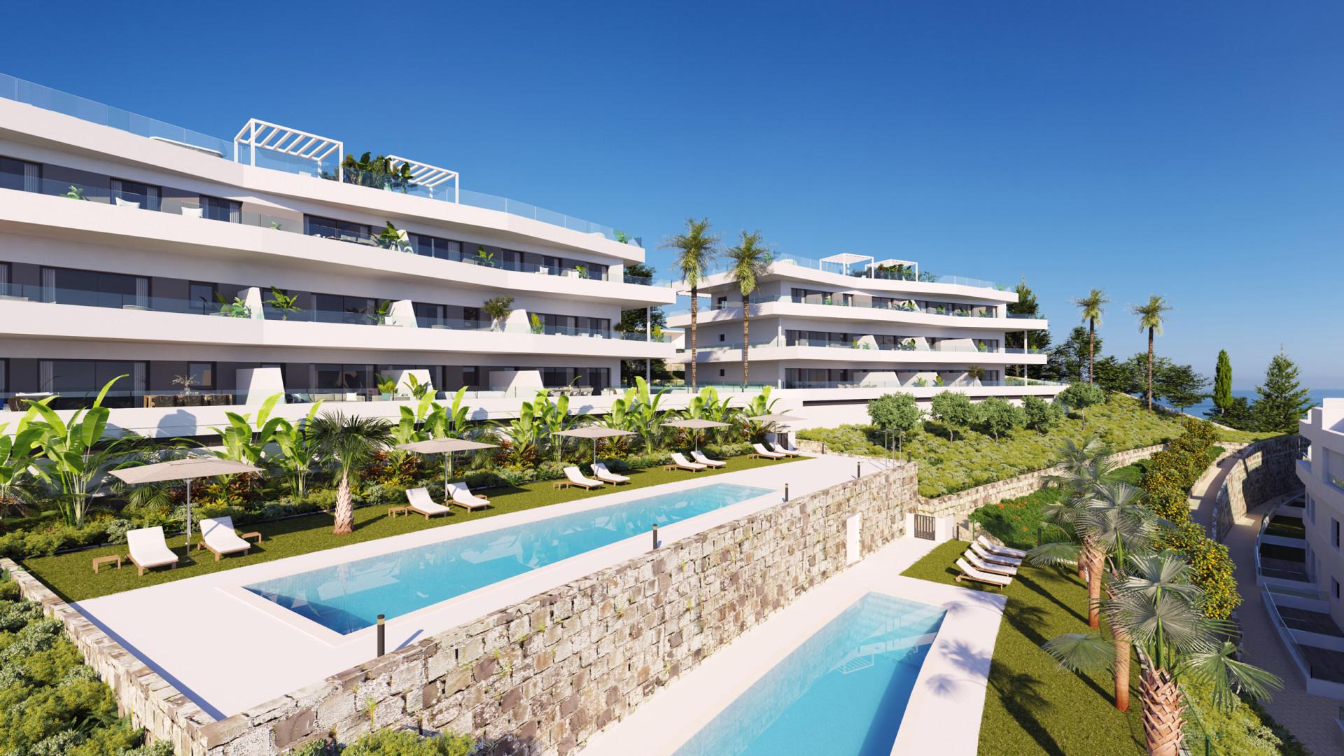Spectaculair uitzicht op zee vanuit deze nieuwe terrasappartementen bij Estepona.PL148