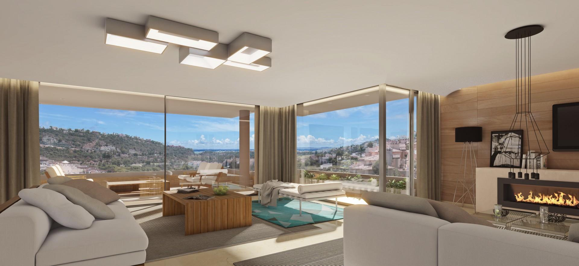 Nieuwe appartementen met panoramisch uitzicht tussen Puerto Banus en Benahavis. PL.47